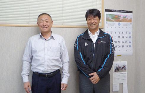 福元正人常務と林鋼司社長(右)
